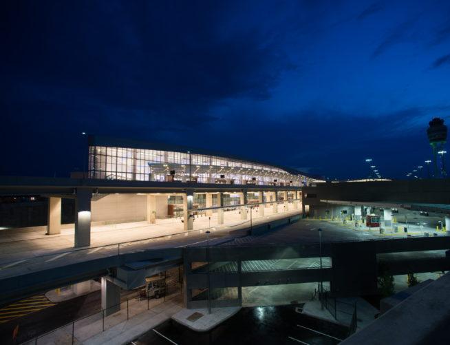Exterior Night view of Maynard Jackson International Terminal